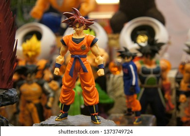 KUALA LUMPUR, MALAYSIA -APRIL 16, 2019: Selected focused of model scale action figures characters from popular Japanese animated series Dragonball. Display by collector and fan on the table.