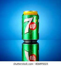 KUALA LUMPUR, MALAYSIA - APRIL 17,2016 : Cold and icy 7 Up can of lemon lime flavored, non-caffeinated soft drink. 7Up was created by Charles Leiper Grigg in 1929.