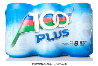 KUALA LUMPUR, MALAYSIA - APRIL 17TH, 2015. 100Plus  is a brand of carbonated isotonic sports drink manufactured by Fraser & Neave Limited, a global food and beverage conglomerate based in Singapore.