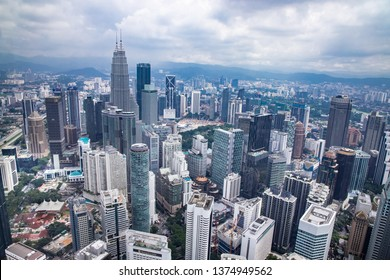 KUALA LUMPUR, MALAYSIA, April 18, 2019: Cityscape of Kuala Lumpur with iconic buildings such as Petronas Twin Tower. Aerial view from KL Tower.