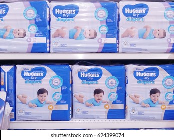 KUALA LUMPUR, MALAYSIA - APRIL 19, 2017 : Huggies dry diapers on local supermarket shelf.