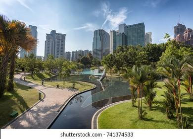 Kuala Lumpur, Malaysia - April 19, 2015: Kuala Lumpur central park KLCC