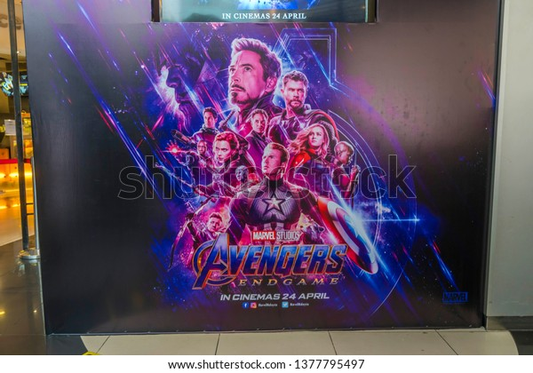 KUALA LUMPUR, MALAYSIA - APRIL 19, 2019: The Avengers Endgame movie poster, is a 2019 American superhero film based on the Marvel Comics superhero team