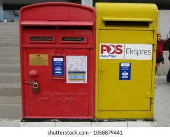 Kuala Lumpur, Malaysia - April 1st, 2018 : Malaysia post box at Kuala Lumpur Central Post Office for air mail and express mail. Local and out town addresses are defined by a range of postal codes.