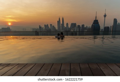 Kuala lumpur, Malaysia - April 20 2019 : Infinity Pools with KLCC view