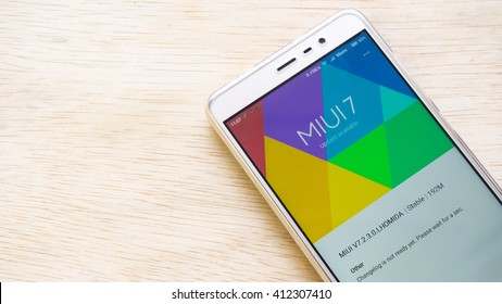 Kuala Lumpur, Malaysia - April 20, 2016: Xiaomi smartphone with MIUI user interface and firmware. MIUI is developed by Xiaomi Tech,a stock firmware for smartphones and tablet based on Google Android