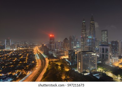 KUALA LUMPUR, MALAYSIA - April 20, 2016: nightscape view of the Petronas Twin Towers at KLCC City Center. The most popular tourist destination in Malaysian capital
