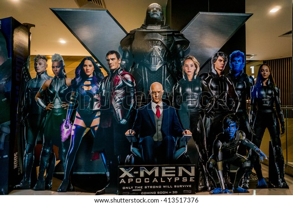 KUALA LUMPUR, MALAYSIA - APRIL, 2016 : A wall sized X-Men poster displayed during a roadshow in Mid Valley taken on 30 April 2016. X-Men: Apocalypse premieres is on May 27, 2016