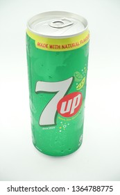 Kuala Lumpur, Malaysia - April 2019. A can of 7up drink against isolated white background, a tasty fruits flavour carbonated drink