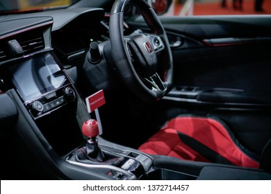 KUALA LUMPUR, MALAYSIA - April 2019 : A close up interior view of Honda Civic Type R Mugen concept car with new design and aerodynamics  displayed during Malaysia Autoshow 2019 held at MAEPS Serdang.