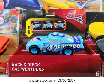 Kuala Lumpur , Malaysia - April 2019 : Cars movie toys at Toys R Us store. Cars movie toy is a brand scale die-cast toy cars made by American toy maker Mattel.