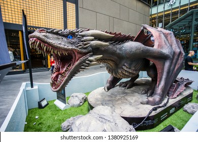 Kuala Lumpur, Malaysia - APRIL, 2019 :A life sized model of the dragon, Viserion, from popular TV show Game of Thrones, on display at the main entrance of Pavilion KL taken on 20th April 2019