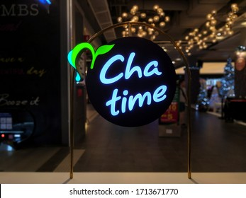Kuala Lumpur, Malaysia - April 2020 : Closeup Chatime logo background at shopping mall. Chatime is a Taiwanese global franchise teahouse chain based in Zhubei.Image may contain some noise.