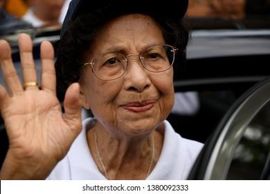 KUALA LUMPUR, MALAYSIA - APRIL 20,2019: Tun Siti Hasmah wife of Malaysia Prime Minister Tun Mahathir Mohamad during Earth Day event at Taman Tugu Nursery