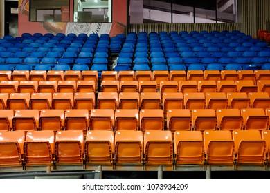 Kuala Lumpur, Malaysia - April 21, 2018 : photo taken inside an indoor basketball stadium seating