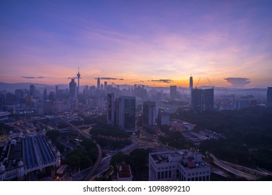 Kuala Lumpur, Malaysia - April 21, 2018: Aerial view of sunrise at Kuala Lumpur city skyline