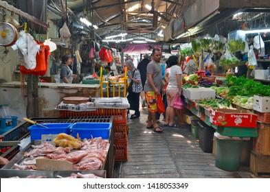 Kuala Lumpur, Malaysia - April 23, 2019: Penjaja Gallery, a traditional fresh market on Tun HS Lee Street in Chinatown.