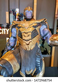 KUALA LUMPUR, MALAYSIA - APRIL 24, 2019: Thanos statue from the Avengers movie at the roadshow