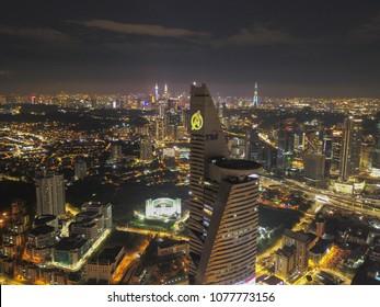 Kuala Lumpur Malaysia. April 25 2018. Telekom Tower tranform to Avenger's Stark. It is part of calloboration between Marvel Malaysia with TM