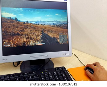 Kuala Lumpur, Malaysia- April 25 2019: Player Unknown's Battlegrounds (PUBG) game play on computer screen. PUBG is a battle royale shooter that pits 100 players against each other in for survival.