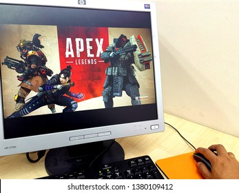 Kuala Lumpur, Malaysia- April 25 2019: Apex Legends screen display on computer monitor. Apex Legends is a free-to-play battle royale game developed by Respawn Entertainment and published by EA.