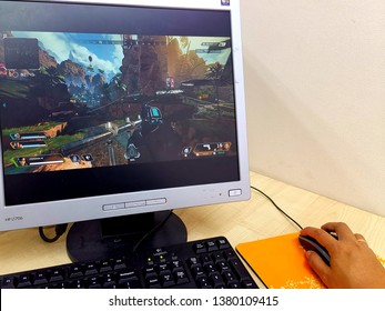 Kuala Lumpur, Malaysia- April 25 2019: Apex Legends game screen display on computer monitor. Apex Legends is a free-to-play battle royale game developed by Respawn Entertainment and published by EA.