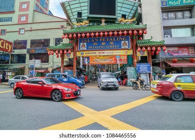 Kuala Lumpur, Malaysia - April 26, 2018: Local and tourist visiting Petaling Street,  Kuala Lumpur. It is one of the most famous tourism destination in Kuala Lumpur.