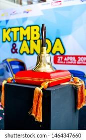 Kuala Lumpur, Malaysia - April 27, 2019: Vintage LMS Railway Station Brass Hand Bell at Kuala Lumpur Sentral.