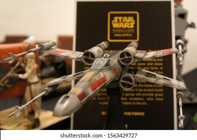 KUALA LUMPUR, MALAYSIA - APRIl 27, 2019: Model of X-Wing starfighter plane from Star Wars franchise movies. Displayed to public by the collector.