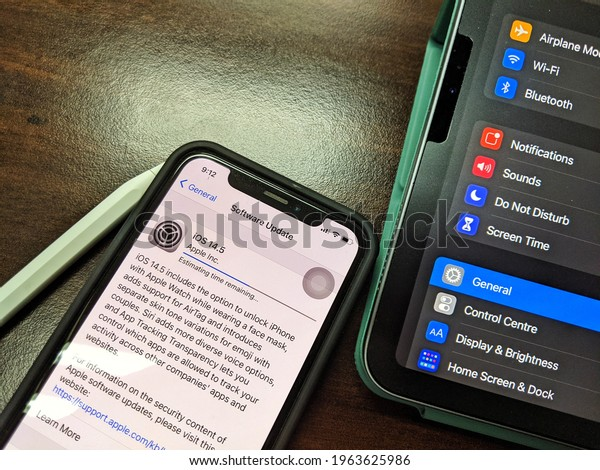 KUALA LUMPUR, MALAYSIA - APRIL 27, 2021: Apple inc launch new software update iOS 14.5 for their product