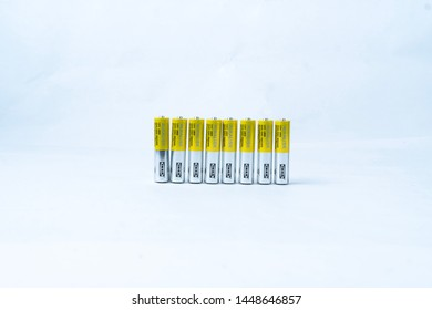 KUALA LUMPUR, MALAYSIA - April 28, 2019 : Ikea alkalisk alkaline batteries AAA size. Usually for clocks and remote controls.