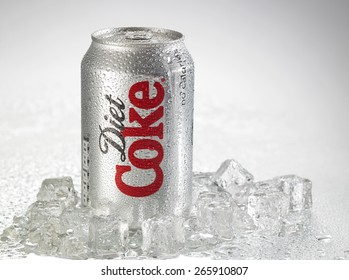KUALA LUMPUR, MALAYSIA - April 2nd 2015.Photo of a can of Coca-Cola Diet . The brand is one of the most popular soda products in the world and it is sold almost everywhere