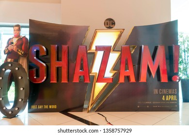 KUALA LUMPUR, MALAYSIA - APRIL 3, 2019: Shazam movie poster, this movie is about a kid can turn into the adult superhero Shazam.