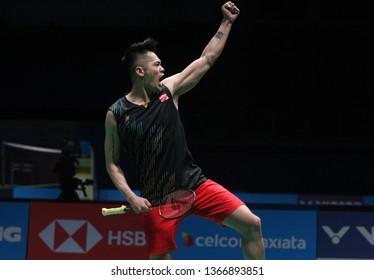 KUALA LUMPUR, MALAYSIA - APRIL 4, 2019 : China's Lin Dan react at the Celcom Axiata Malaysia Open 2019 at Bukit Jalil, Kuala Lumpur.