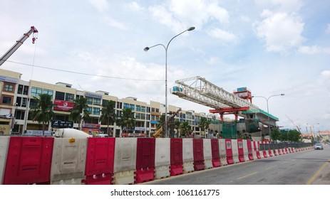 KUALA LUMPUR, MALAYSIA: APRIL 4,2018. Construction site of Mass Rapid Transit (MRT) in Kuala Lumpur City Centre. MRT is a new mega project for Malaysiw