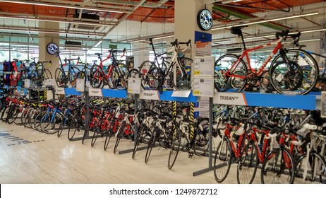 Kuala Lumpur, Malaysia - APRIL 5th 2018 : Decathlon sporting goods and outdoors store in Damansara Utama. Decathlon is one of the world's largest sporting goods retailers in the world.