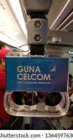 Kuala Lumpur, Malaysia - april 6, 2019: CELCOM's telco and internet advertising in a train.