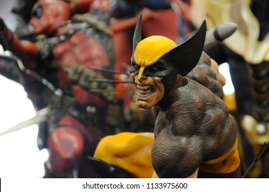 KUALA LUMPUR, MALAYSIA -APRIL 7, 2018: Wolverine action figure display by collector for public. Wolverine is a fictional character appearing in American comic books and movie published by Marvel.