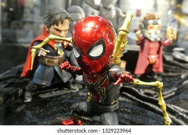 KUALA LUMPUR, MALAYSIA -APRIL 7, 2018: Selected focused of Marvel Comic action figure Spider-man with Iron Spider suit. He was one of the Avengers team. Action figures displayed by the collector.