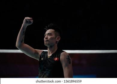 KUALA LUMPUR, MALAYSIA - APRIL 7, 2019 : China Men's Singles, Lin Dan in action during CELCOM AXIATA Malaysia Open 2019 at the Axiata Arena in Bukit Jalil, Malaysia.