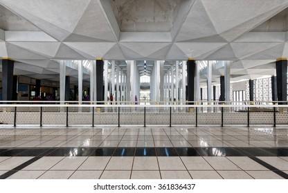 KUALA LUMPUR, MALAYSIA - Aug. 1, 2015: The interior of Malaysia national mosque at Kuala Lumpur.