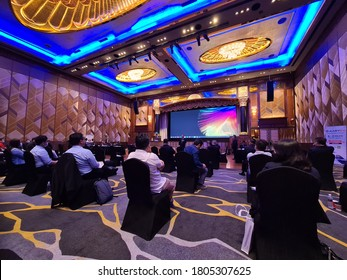 KUALA LUMPUR, MALAYSIA - Augsut 29, 2020 : Annual general meeting during Covid 19 with social distance measure prevention at Sunway hotels and resorts hall during