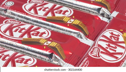 KUALA LUMPUR MALAYSIA, AUGUST 02, 2015 : Kit Kat is a chocolate covered wafer bar created in 1911 by Rowntree's of York, England. Nestle which acquired Rowntree in 1988 now sells Kit Kat globally.