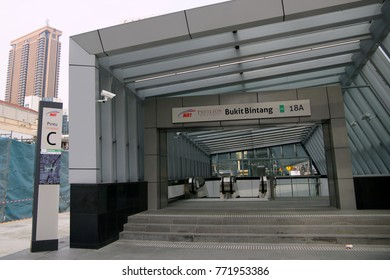 KUALA LUMPUR, MALAYSIA : AUGUST 02, 2017 : Entrance of Bukit Bintang Mass Rapid Transit (MRT) stations. MRT alleviate the severe traffic congestion in the KL metropolitan area.