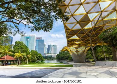 KUALA LUMPUR, MALAYSIA - AUGUST 03: Kuala Lumpur skyline over Perdana Botanical Garden on August 03, 2016 in Kuala Lumpur, Malaysia.