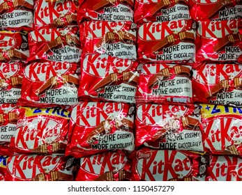 KUALA LUMPUR  MALAYSIA, AUGUST 03, 2018. Kit Kat is a chocolate covered wafer bar created in 1911 by Rowntree's of York, England. Nestle which acquired Rowntree in 1988 now sells Kit Kat globally.