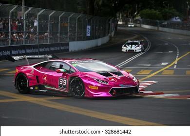 KUALA LUMPUR, MALAYSIA - AUGUST 09, 2015: Akira Mizutami in a Lamborghini Super Trofeo LP620 races in the Lamborghini Blancpain Super Trofeo Race at the 2015 Kuala Lumpur City Grand Prix.