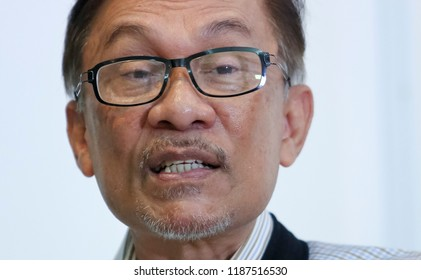 KUALA LUMPUR, MALAYSIA - AUGUST 10, 2018 : Anwar Ibrahim speak during interview. He is currently the president of the People's Justice Party and leader of the Pakatan Harapan coalition.