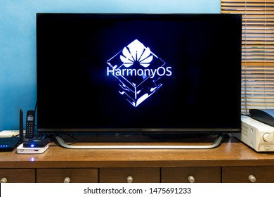 KUALA LUMPUR, MALAYSIA, August, 11, 2019: Huawei officially announced its new operating system, HarmonyOS. Illustrative visual of HarmonyOS on TV honor smart screen