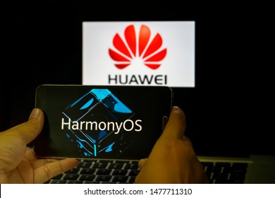 KUALA LUMPUR, MALAYSIA, AUGUST 13 2019 : The Harmony OS operating system has been launched by Huawei. Will this be the second largest smartphone vendor in the world ready to release Android.